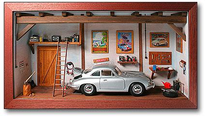 Diorama Klassikwerkstatt 1:18 mit Porsche 356