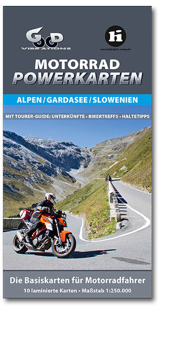 Buchcover Motorrad Powerkarten Alpen | Heel Verlag